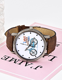 Fashion Coffee Bicycle Pattern Decorated Simple Watch