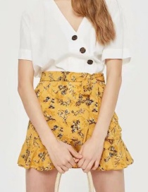 Fashion Yellow Flowers Decorated Pure Color Skirt