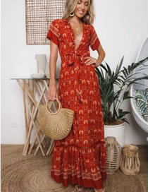 Fashion Red Flower Pattern Design V Neckline Dress
