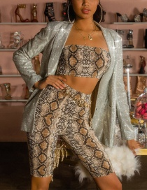 Fashion Brown Snakeskin Pattern Decorated Suit