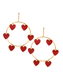 Fashion Red Heart Shape Decorated Round Earrings