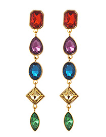 Fashion Multi-color Waterdrop Shape Decorated Tassel Earrings