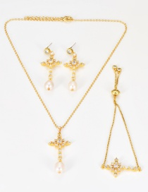 Fashion Gold Color Cross Shape Decorated Jewelry Set