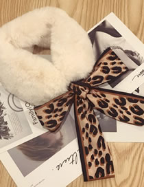 Fashion White+brown Leopard Pattern Decorated Scarf