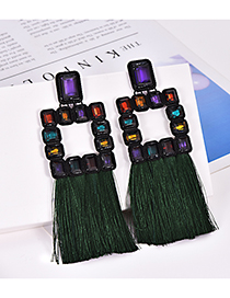 Fashion Green Square Shape Decorated Tassel Earrings