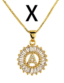 Simple Gold Color Letter X Shape Decorated Necklace