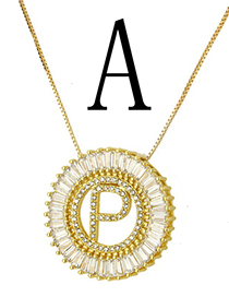 Simple Gold Color Letter A Shape Decorated Necklace