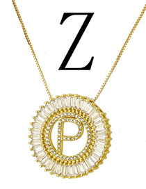 Simple Gold Color Letter Z Shape Decorated Necklace