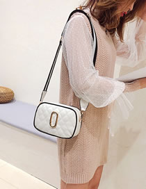Simple White Pure Color Decorated Shoulder Bag