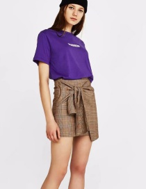 Fashion Brown Grid Pattern Decorated Skirt