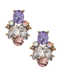 Fashion Purple Water Drop Shape Decorated Earrings