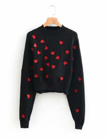 Fashion Black Heart Pattern Decorated Sweater