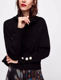 Fashion Black Pure Color Decorated Sweater