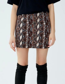 Fashion Brown Snake Skin Pattern Decorated Skirt