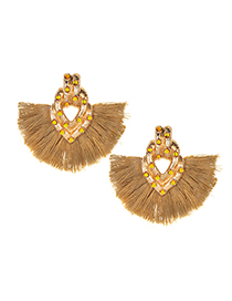 Fashion Khaki Tassel Decorated Earrings