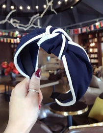 Fashion Navy Color Matching Decorated Hair Hoop