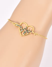 Fashion Gold Color Electrocardiogram&heart Shape Decorated Bracelet