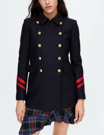 Fashion Dark Blue Buttons Decorated Long Sleeves Overcoat