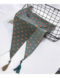 Fashion Green Flower Pattern Decorated Small Scarf