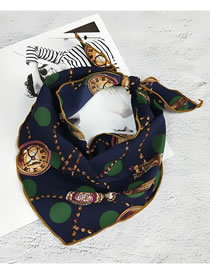 Fashion Navy Watch Pattern Decorated Small Scarf