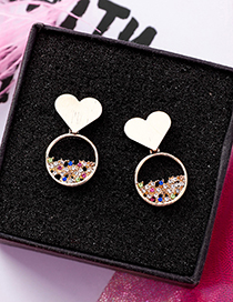 Sweet Gold Color Diamond Decorated Heart Shape Earrings