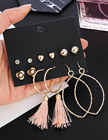 Elegant Alloy Tassel&flowers Decorated Earrings(6pairs)