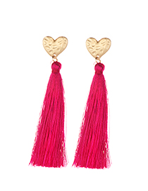 Elegant Plum Red Heart Shape Design Long Tassel Earrings