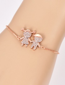 Fashion Rose Gold Kids Shape Decorated Pure Color Bracelet