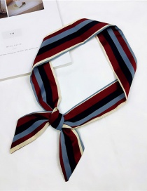 Fashion Claret Red Lines Pattern Decorated Small Scarf