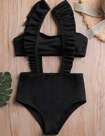 Sexy Black Pure Color Design High Waist Bikini