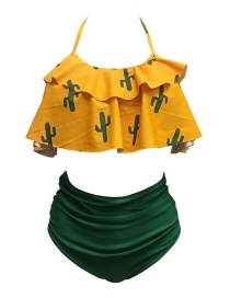 Sexy Yellow+green Cactus Decorated Off-the-shoulder Bikini