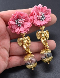 Fashion Gold Color Angel&flower Decorated Long Earrings