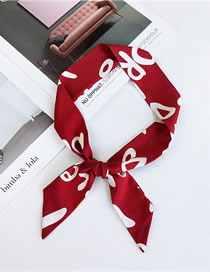 Fashion Red Letter Pattern Decorated Small Scarf