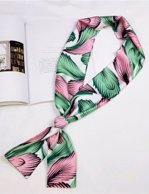 Fashion Green+pink Leaf Pattern Decorated Scarf