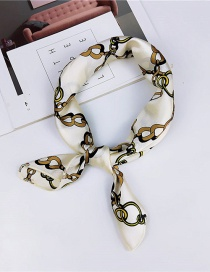 Fashion White Geometric Pattern Decorated Scarf