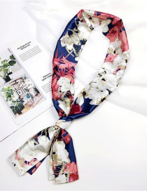 Fashion Pink+navy Flowers Pattern Decorated Scarf