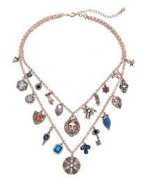 Fashion Gold Insect Geometry Flower Necklace