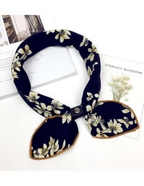 Fashion Navy Flower Pattern Decorated Scarf
