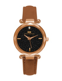 Fashion Coffee Pure Color Strap Decorated Watch
