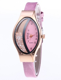 Fashion Pink Oval Shape Dial Design Simple Watch