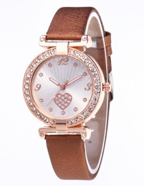 Fashion Coffee Heart Shape Pattern Decorated Leisure Watch