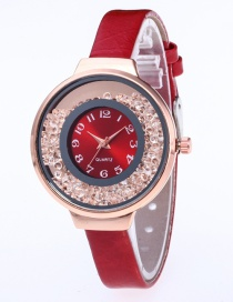 Fashion Red Diamond Decorated Pure Color Strap Watch