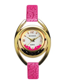 Fashion Plum Red Irregular Shape Dial Design Simple Watch