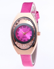 Fashion Plum Red Arc Shape Dial Design Pure Color Strap Watch