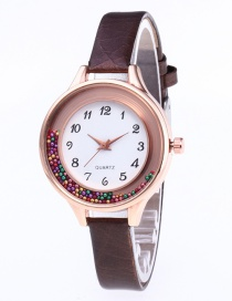 Fashion Coffee Colored Balls Decorated Leisure Watch
