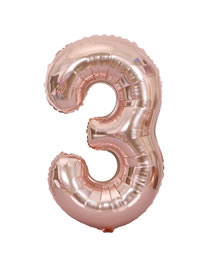 Fashion Rose Gold Thin Edition Design Letter 3 Shape Balloon
