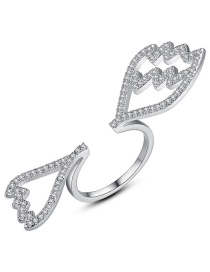 Fashion Silver Color Wing Shape Design Opening Ring