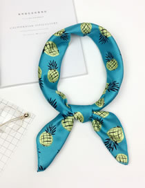Fashion Blue Pineapple Pattern Decorated Scarf