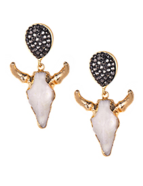 Fashion Gold Color Bull Head Shape Decorated Earrings