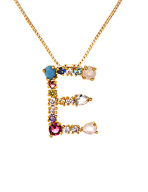 Fashion Multi-color E Shape Design Full Diamond Nekclace